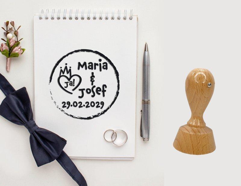 Hochzeitsstempel personalisiert Vers.1 Rund