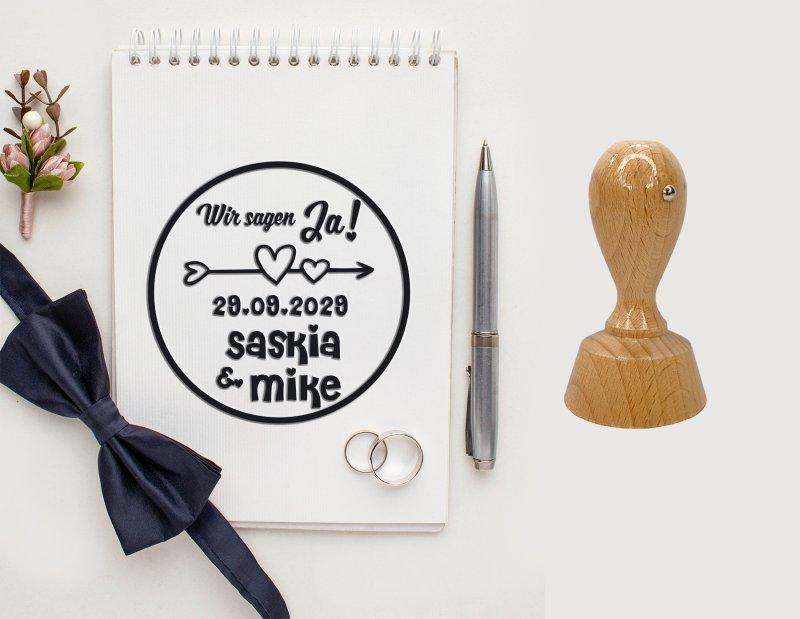 Hochzeitsstempel personalisiert Vers.2 Rund