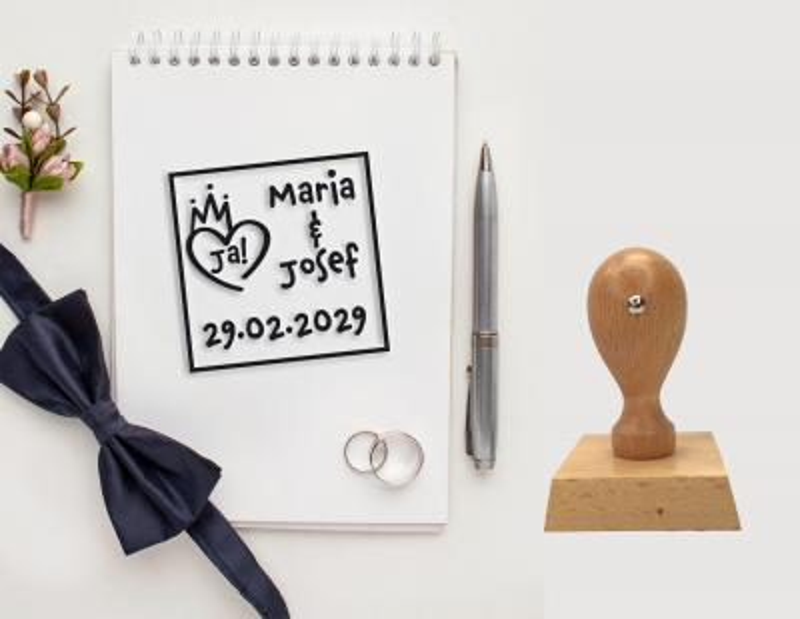 Hochzeitsstempel personalisiert Vers.1 Quadrat